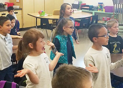 "JC AMBERLYN/Miner<BR> Kindergarteners in Ashleigh Smith's class at Desert Willow Elementary School dance to ""What Does the Fox Say?"""