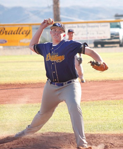 Marcel Louis-Jacques/Today's News-Herald<BR> Kingman's Colton Stanley prepares to fire a fastball during the second inning of Thursday's game at Lake Havasu. Kingman lost the non-section matchup, 25-0.