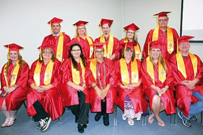 Pictured from left to right are: front row, Desarae Paulsson, Terry Griffis, Jeri Lopez, Autumn Jae Burrell, Jackie Blakely, Stacy Franklin and Michael Spawn; back row, Ian Oeder, Mary Taylor, Morgan Hinton, Donna Stordahl and Thomas Curtis. (Courtesy)
