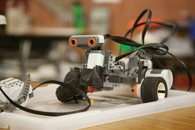 One of the LEGO Mindstorms robots equipped with an ultrasonic sensor. (RYAN ABELLA/Miner)