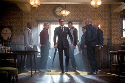 A scene from <i>Kingsman: The Secret Service,</i> starring Colin Firth, Taron Egerton and Samuel L. Jackson.