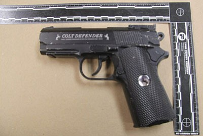 The BB gun reportedly used by Ryan Burgess was an exact replica of a Colt semiautomatic pistol, according to law enforcement. (Courtesy photo)