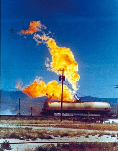 Courtesy<BR> The leaking propane tank moments before exploding on July 5, 1973. Of the 12 killed, 11 were firefighters, many of them volunteers.