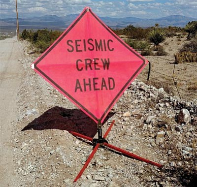 A sign along Shinarump Drive in Golden Valley shows the area in which NordalSeismic equipment is allegedly conducting a seismic survey in search of an alien spacecraft crash site that occurred during 1947. Government officials have continually maintained a hue of plausible deniability in regard to the presence of aliens, but because extremely large glowing orbs and a spaceship have been recently spotted silently gliding across the valley, they decided it was time again to start searching for the crash site. (BUTCH MERIWETHER)