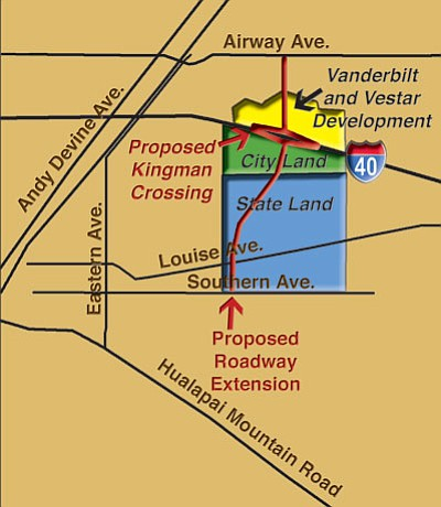 <br /><br /><!-- 1upcrlf2 -->Kingman Crossing involves the construction of a fourth Interstate 40 traffic interchange in a mostly undeveloped area of Kingman east of Andy Devine Avenue, bounded by I-40 to the north, currently undeveloped sections of Prospector Street to the east, undeveloped Airfield Avenue and state trust land to the south, and undeveloped Sage Street and a UniSource substation to the west.