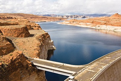 Lake Powell, as seen from the Glen Canyon Dam. Though testing is ongoing, the prediction is that a toxic mine spill in Colorado that fouled tributary rivers will not impact water quality in Arizona. (ADAM KLICZEK/Courtesy)