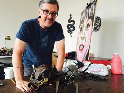 Donald Gialanella, artist-in-residence at the ArtHub in downtown Kingman, is creating a metal sculpture that will be exhibited at the upcoming Best of the West on Route 66 Festival and then donated to the Route 66 Association. (HUBBLE RAY SMITH/Miner)