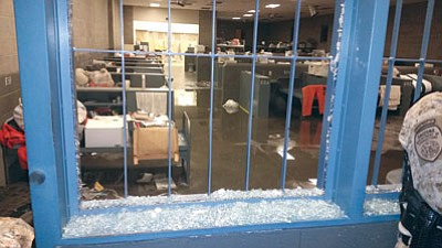 Courtesy<BR>A sample of the damage at the Arizona State Prison-Kingman after prisoner unrest in early July.  The state canceled its contract with private prison operator Management and Training Corporation last week.