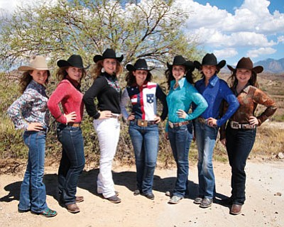 The 2016 Andy Devine Days Rodeo Queen and Teen Queen pageant contestants are saddled up and ready to compete. From left to right: Hunter Wimpee, Adrienne Sikel, Baylee Hammond, Samantha Cook, Giana Demaria, Adison Leo and Angelina Perkins. (JUST DIVINE PHOTOGRAPHY/Courtesy)