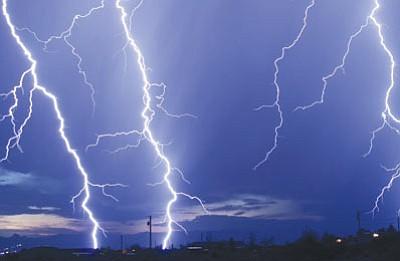 Lightning flashes over Golden Valley Saturday night. (B. EDWARDS/Courtesy)