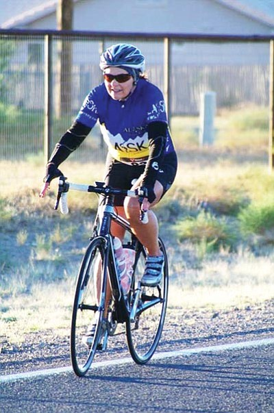 Shirley Bowers competes in the 2014 Tour of Kingman in the 28-mile bike ride. (Courtesy)