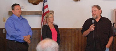 Three political newcomers addressed the Conservative Republican Club of Kingman Monday at the Dambar. From the left are Rick Armstrong, Krystal Gabrielson and Jeff Jolly. Armstrong and Gabrielson have filed to challenge District 4 Mohave County Supervisor Jean Bishop. Jolly will challenge District 1 Supervisor Gary Watson. (DOUG McMURDO/Miner)