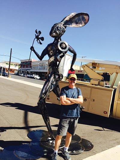 "Don Gialanella, artist-in-residence at the ArtHub, created this 12-foot metal sculpture called ""Running Hare"" for the Best of the West on 66 Festival. (HUBBLE RAY SMITH/Miner)"