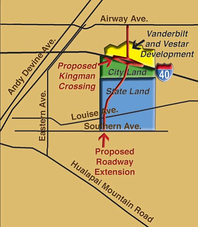 The city's Planning and Zoning Commission this evening will hold the first of two public hearings scheduled this month regarding a proposed zoning change for the planned Kingman Crossing development. (SPARKY KNOWLTON)