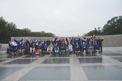 Charlie Hupp, a 91-year-old World War II veteran, was among 28 veterans who visited war memorials in Washington, D.C., during a trip sponsored by Honor Flight Southern Nevada. (Courtesy)