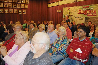 Only one person at a crowded City Council meeting spoke against a special election regarding the implementation of a primary property tax in Kingman planned for May. (DOUG McMURDO/Miner)