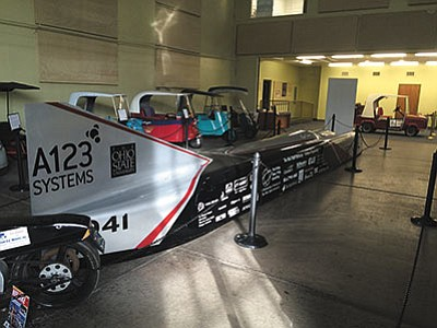 The Buckeye Bullet 2.5, the fastest electric car in the world, is being displayed for the next year at the Route 66 Electric Vehicle Museum inside the Powerhouse Visitor Center. The car has reached top speed of 321.8 mph. (HUBBLE RAY SMITH/Miner)