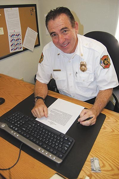 DOUG McMURDO/Miner<BR> Len DeJoria became the new fire marshal at the Kingman Fire Department Oct. 12.