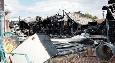 DOUG McMURDO/Miner<BR> Faulty electrical wiring was the cause of this destructive fire in northern Kingman a year ago. The risk of home fires is greatest in the winter, particularly during the holidays.