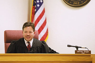 Judge Jeffrey Singer during court proceedings at the first Veterans Treatment Court in Kingman. (RYAN ABELLA/Miner)