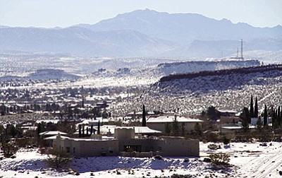 JC AMBERLYN/Miner<BR> A view of Kingman, including Radar Hill, from the Cerbat Mountain foothills, photographed in January.