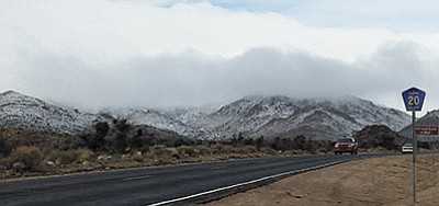 Snow coated higher elevations around Kingman Monday, including north of town. (CODY DAVIS/Miner)