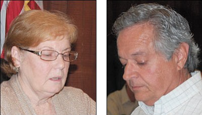 Carole Young, left, is Kingman's new vice mayor. Resident Craig Graves, right, spoke against the church's plans.