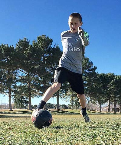 Courtesy<BR> Gabriel Otero, 12, practices at Centennial Park recently. Otero will represent Arizona in the U.S. Youth Soccer Region IV ODP Championships next week in Phoenix.