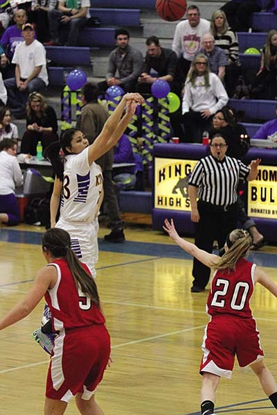 JC AMBERLYN/Miner<BR> Kingman High's Desirae Gonzalez puts up one her final 3-pointers at KHS of her Lady Bulldog career Friday against Lee Williams Friday.