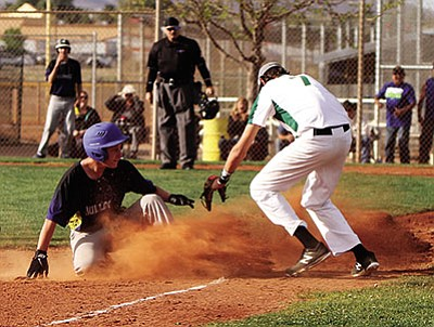 JC AMBERLYN/Miner<BR> Rilee Araya arrives safely at third base with a triple Thursday against Mohave in Kingman's 6-3 loss to the T-birds.