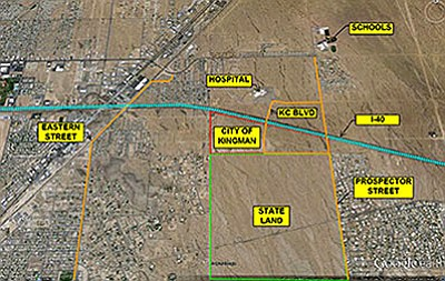 Courtesy<br> This map shows where Kingman Crossing Boulevard would cut under Interstate 40 in order to improve access in eastern Kingman. One of the downsides of the plan involves the large parcel designated as state land, which would force motorists and emergency responders to jog left to Prospector Street if the Arizona State Land Department declines the city's pending request to extend the road through the property.