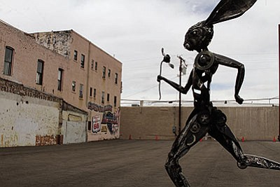 "Don Gialanella, who was artist-in-residence at the ArtHub, created this 12-foot metal sculpture called ""Running Hare"" for the Best of the West on 66 Festival. (JC AMBERLYN/Miner)"