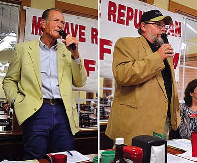 AARON RICCA/Miner<br> Mohave County District 1 Supervisor Gary Watson (left) and challenger Jeffery Jolly speak at the Mohave Republican Forum in the Golden Corral last week.
