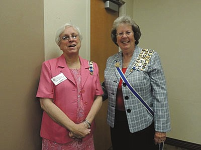 "Daughters of the American Revolution: From left, Kristen Wilson, Kingman chapter regent, greets Gillian Morse, Arizona State Regent. Recently, several distinguished Arizona State DAR officers were guests of the Lewis Kingman Chapter of the Daughters of the American Revolution. Included were: Morse; Jo Andress, Vice President General and Honorary Arizona State Regent; Joyce Wold, Arizona State Secretary; Georgia Heir, Arizona State Historian; and Marilou Feldman, Arizona State Chapltain. Morse presented the inspiring story of Francis Scott Key, who wrote the verses for the ""Star Spangled Banner"" during the War of 1912 against the British. His patriotic verse became out National Anthem more than a century later in 1931. Following the business meeting, everyone enjoyed a festive luncheon catered by Kingman Regional Medical Center cafeteria. Those seeking membership information may email kingmanregent@yahoo.com."