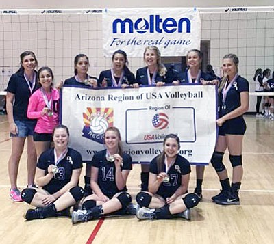 The Desert Stars went 6-0 at the Arizona Region of USA Volleyball championship tournament to claim first place in the 16U Club Division. (Courtesy)