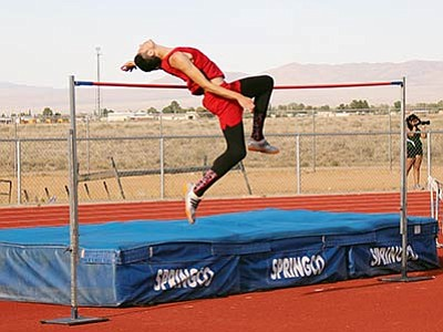 Lee Williams's Giancarlo Narvarte, pictured here at the Kingman Multi on April 6, cleared 6 feet, 6 inches and finished second in the high jump for the second consecutive year at the Division III Track and Field State Championship Meet Friday in Mesa. (SHAWN BYRNE/Miner)