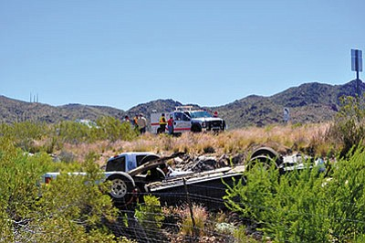 A Mexicali, Baja California, Mexico, woman declined medical care after being involved in this crash Thursday on Highway 68 in Golden Valley. (BUTCH MERIWETHER/Courtesy)