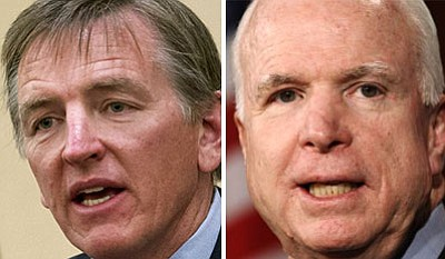 U.S. Representative Paul Gosar (left) and Senator John McCain