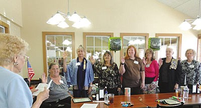 Daughters of the American Revolution: Seven new officers were installed at the May meeting of the Lewis Kingman Chapter of the Daughters of the American Revolution. They were sworn in by Sally Smith, a retired Arizona state officer and LK chapter associate member. Pictured from left: Sally Smith; the new officers, Cynthia Pratt – treasurer; Kim Casey – the new Lewis Kingman Chapter Regent; Grace VanHorn – vice regent; Diana Berry – recording secretary; Marianne Huffer – corresponding secretary; Kathryn Andrews – registrar; and Jayne Seieroe – historian. Not pictured is Nancy Sloan – chaplain. The chapter appreciates your willingness to serve. The chapter also presented recognition awards to outgoing officers and chapter members whose contribution and guidance increased and enriched our chapter. Many thanks for your service, devotion and time. After the meeting, the group enjoyed a delicious luncheon buffet at the Golden Corral. For membership information send email to kingmanregent@yahoo.com. (Courtesy)