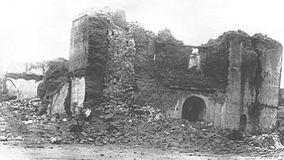A church in Bavispe, Sonora, after the 1887 earthquake. (Arizona Historical Society, Tucson/Courtesy)