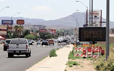 The month of June will be more hectic than usual on Stockton Hill Road while Desert Construction mills and repaves Kingman's busiest street between Airway and Detroit avenues. JC AMBERLYN/Miner