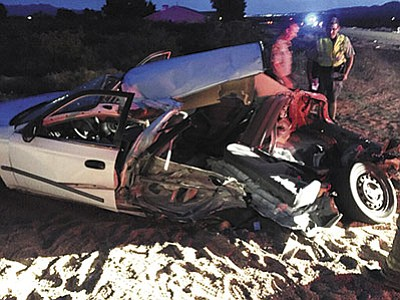 Believe it or not, the people who were in what's left of this Honda Civic received only minor injuries after a Jeep Wrangler with a suspected drunk driver behind the wheel ran a stop sign and caused a T-bone type crash. (Courtesy photo)