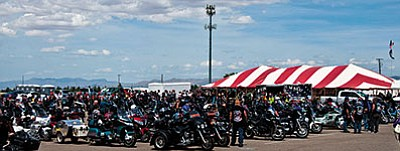 Hundreds of motorcyclists stopped in Kingman on their way from California to Washington, D.C., in this file photo. The riders take part in the annual Run for the Wall event, which is designed to support veterans. The city and its police department have been under public attack for the past few weeks over the way the 2016 event was handled. Mayor Richard Anderson and Vice Mayor Carole Young have asked the KPD for an explanation, which will be provided at tonight's City Council meeting. (MINER/file)