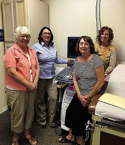 From left, Jan Mary, Christina Hill, Nan White and Betty Myric at a recent training session for a newly acquired ultrasound machine. (TERESA REAUME/Courtesy)