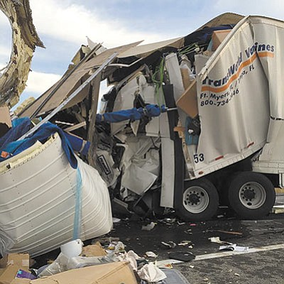 A three-vehicle collision on westbound I-40 near milepost 16 early Monday morning killed one driver. (KATHY JENKINS/Yucca Fire Department)