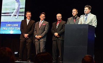 Kingman's Scott Lander's 1998 UNLV Rebel golf team at the Southern Nevada Sports Hall of Fame induction June 24 in Las Vegas. From left to right, Darren Dorsey, Casey Whalen, Scott Wingfield,Lander, and Jeremy Anderson is speaking. Team members Chris Berry, Bill Lunde and Charley Hoffman were not present as they are still associated with golf tours. STEVE FOTOVEGAS/Courtesy