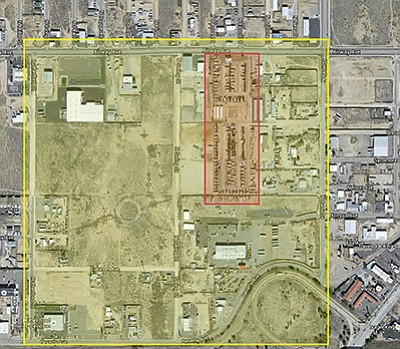 This red box depicts half of the Zuni RV Park that is under a mandatory evacuation due to the discovery of an explosives-laden motor home. The Kingman Police established a mandatory evacuation for people living or working near the park, which is the large map.