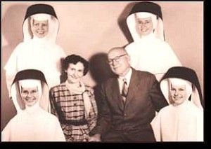 Courtesy Photo In a photo taken in 1960, Sister Madonna Marie Black (top left) and her three habit-clad sisters, Sister Rose Regina Black (top right), Sister Virginia Marion Black (bottom left) and Sister Rose Madonna Black (bottom right) pose with their parents, Mabel Van Marter Black and Arthur F. Black.