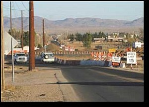 Miner Photo/JC AMBERLYN Construction projects can create roadblocks and detours, such as this one on Gordon Drive in Kingman.