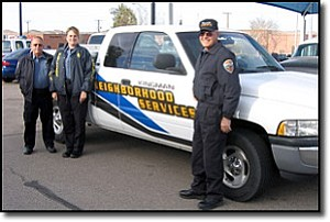 JEFF POPE/Miner<br> Neighborhood Services Officers John Legg (left), Theresa Jones and Jerry Mitchell are making a visible difference in the city's appearance. <br><br>